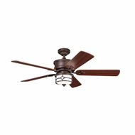 Kichler 300001TZG Chicago Tannery Bronze w/ Gold Accent Finish 52 Inch Home Ceiling Fan