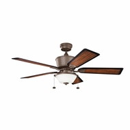 Kichler 300162TZP Cates Tannery Bronze Powder Coat Finish Indoor / Outdoor 52 Inch Ceiling Fan
