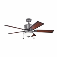 Kichler 300162WSP Cates Weathered Steel Powder Coat Finish Indoor / Outdoor 52 Inch Home Ceiling Fan