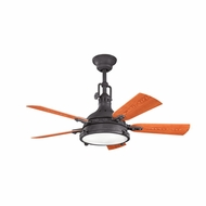 Kichler 310101DBK Hatteras Bay Patio Distressed Black Finish Indoor / Outdoor 44 Inch Ceiling Fan
