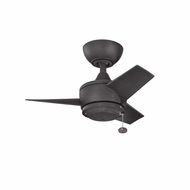 Kichler 310124DBK Yur Distressed Black Finish Indoor / Outdoor 24 Inch Home Ceiling Fan