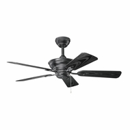 Kichler 339524SBK Trent Satin Black Finish Indoor / Outdoor 44 Inch Home Ceiling Fan