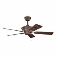 Kichler 339524TZP Trent Tannery Bronze Powder Coat Finish Indoor / Outdoor 44 Inch Ceiling Fan