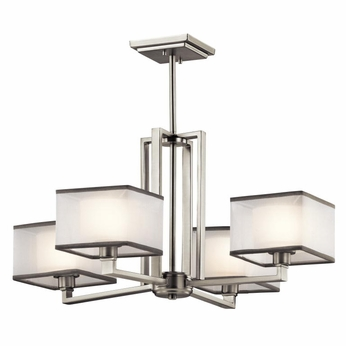 Kichler 43438NI Kailey Modern Brushed Nickel Finish 13.25u0026nbsp; Tall  Hanging Chandelier