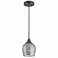 Kichler 43489BKSLV Annata Black Finish 6.25  Wide Mini Hanging Lamp