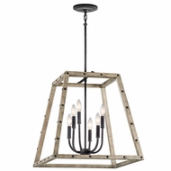 Kichler 43520DAG Basford Country Distressed Antique Gray Finish 21  Wide Foyer Lighting Fixture