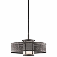 Kichler 43574WZC Argesto Vintage Weathered Zinc Finish 15.25  Tall Drum Hanging Light Fixture