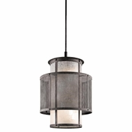 Kichler 43579WZC Argesto Vintage Weathered Zinc Finish 27.5  Tall Mini Drum Ceiling Light Pendant