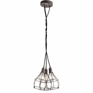 Kichler 43600WZC Industrial Cage Nautical Weathered Zinc Finish 15.25  Wide Multi Ceiling Pendant Light