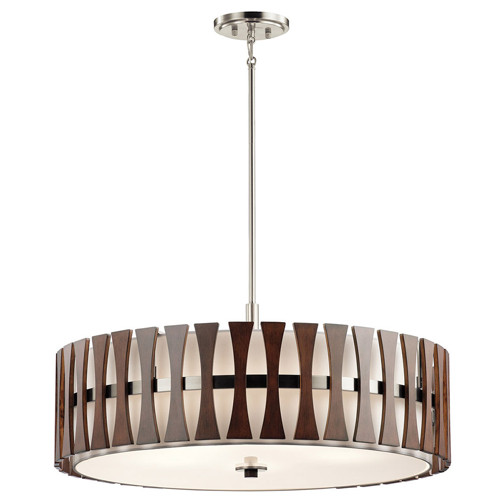 Kichler 43754aub cirus contemporary auburn stained drum for Contemporary lighting pendants