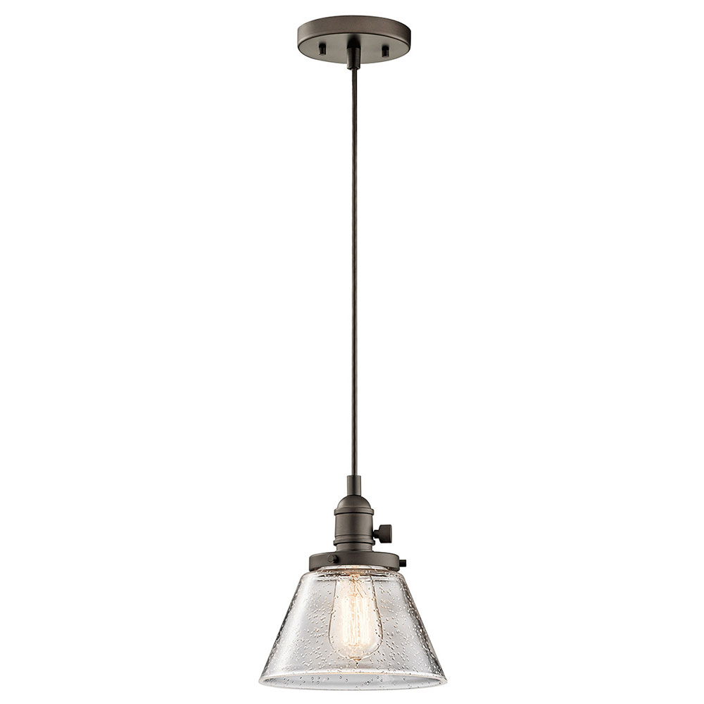 Hanging Light Fixture: Kichler 43851OZ Avery Olde Bronze Mini Hanging Light