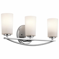 Kichler 45061CH Rousseau Contemporary Chrome Finish 8.5  Tall 3 Light Lighting For Bathroom