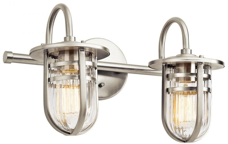 kichler 45132ni caparros contemporary brushed nickel 2-light