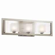 Kichler 45443NI Rigate Modern Brushed Nickel Finish 6.75  Tall Halogen 3 Light Bath Light Fixture