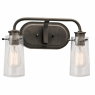 Kichler 45458OZ Braelyn Retro Olde Bronze Finish 10  Tall 2-Light Bathroom Vanity Light