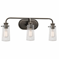 Kichler 45459OZ Braelyn Vintage Olde Bronze Finish 24  Wide 3-Light Bathroom Sconce