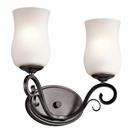 Kichler 45466SMG Kambry Traditional Smokey Gray Finish 13  Wide 2 Light Bathroom Sconce