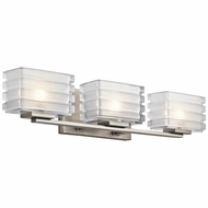 Kichler 45479NI Bazely Modern Brushed Nickel Finish 24  Wide Halogen 3 Light Bathroom Vanity Light Fixture