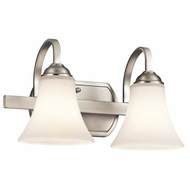 Kichler 45512NI Keiran Brushed Nickel Finish 8.25  Tall 2-Light Bathroom Wall Sconce