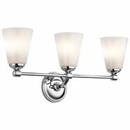 Kichler 45519CH Ashbrook Chrome Finish 24  Wide 3 Light Bath Lighting