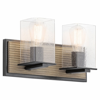 Kichler 45543DAG Millwright Distressed Antique Gray 2-Light Bathroom Sconce
