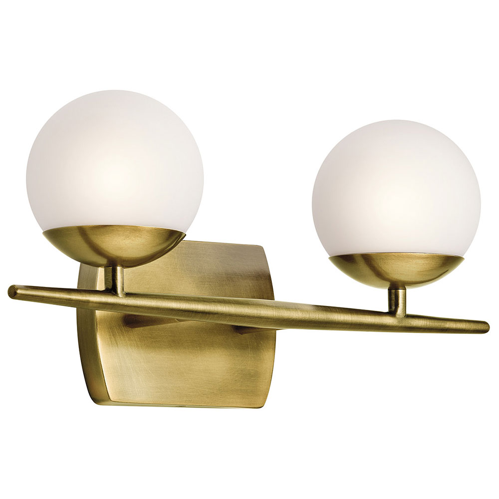 kichler 45581nbr jasper modern natural brass halogen 2 light bathroom vanity light fixture loading zoom brass bathroom lighting fixtures