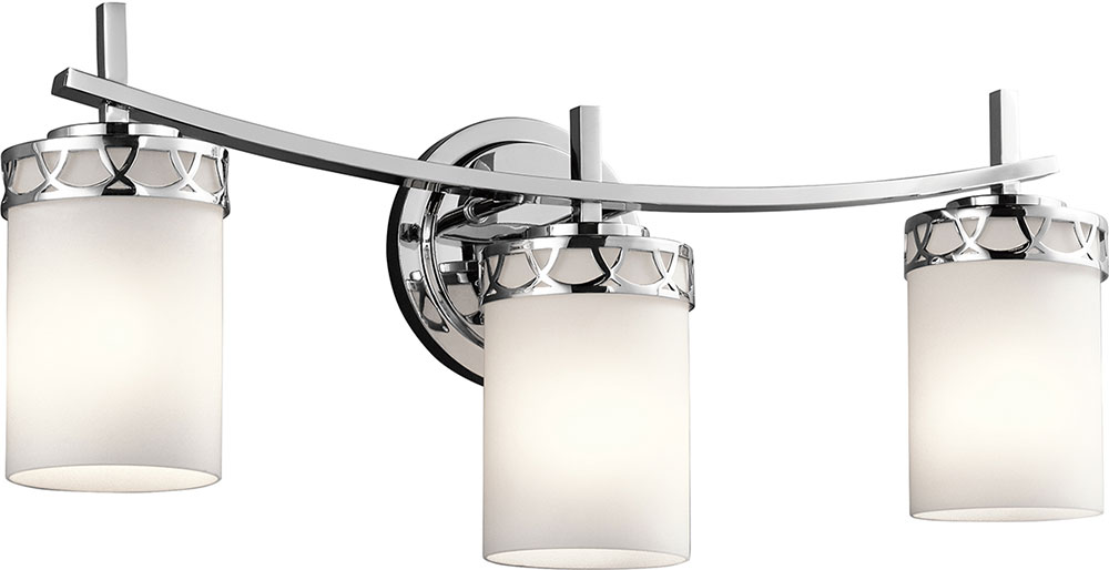 Kichler 45586CHL16 Marlowe Modern Chrome LED 3 Light Bathroom Vanity Light Fi