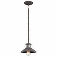 Kichler 49290WZC Laken Vintage Weathered Zinc Finish 5.75  Tall Exterior Mini Pendant Lighting