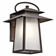 Kichler 49530WZC Woodland Lake Craftsman Weathered Zinc Finish 9.25  Wide Outdoor Wall Light Sconce