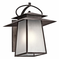 Kichler 49532WZC Woodland Lake Craftsman Weathered Zinc Finish 14.5  Wide Outdoor Wall Sconce