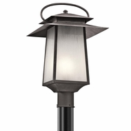 Kichler 49534WZC Woodland Lake Craftsman Weathered Zinc Finish 12.5  Wide Outdoor Post Light Fixture