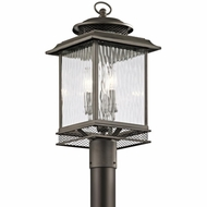 Kichler 49543OZ Pettiford Traditional Olde Bronze Finish 10  Wide Outdoor Post Lighting