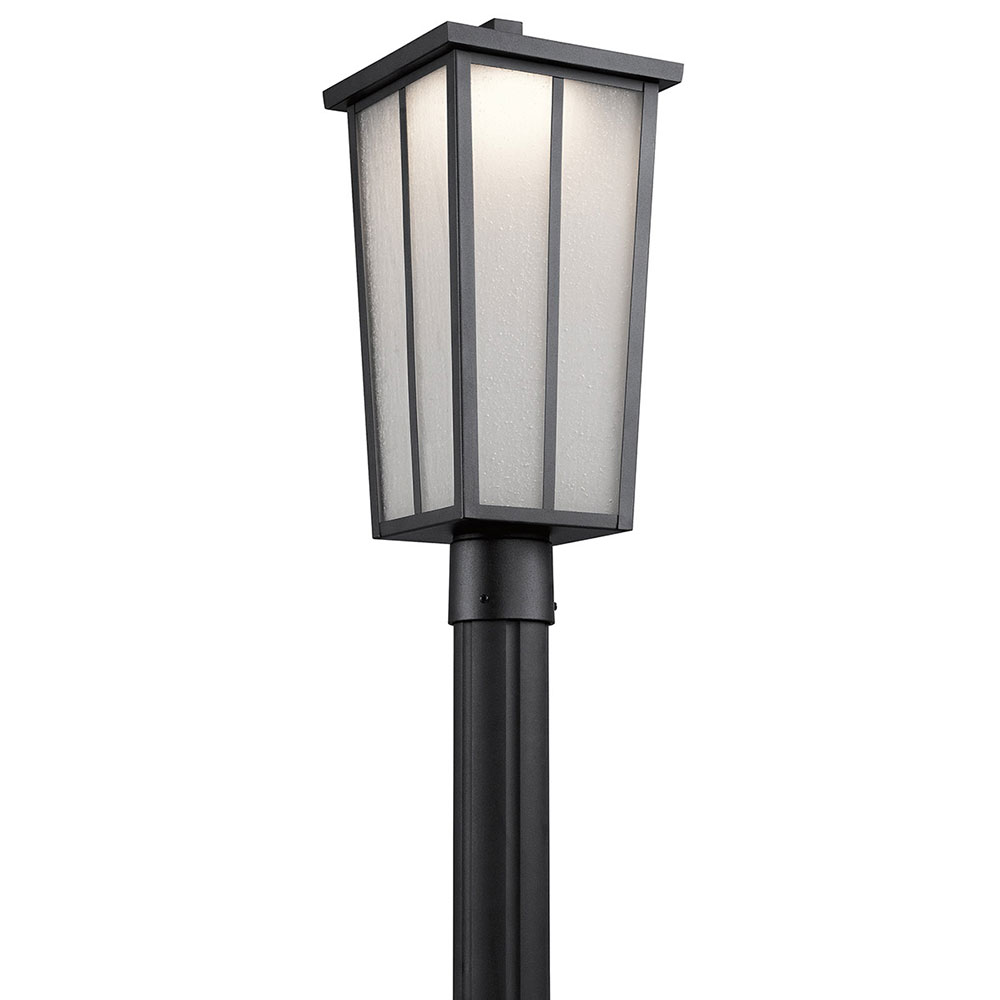 Outdoor Post Lights Led: Kichler 49625BKTLED Amber Valley Textured Black LED