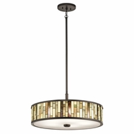 Kichler 65402 Marisa Tiffany Shadow Bronze Finish 21.75  Wide Drum Pendant Lamp