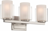 Lite Source LS-16323 Eliseo Contemporary Polished Steel 3-Light Lighting For Bathroom