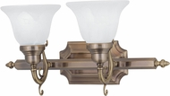 Livex 1282-01 French Regency Traditional Antique Brass 2-Light Bath Lighting Fixture