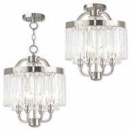 Livex 50543-91 Ashton Brushed Nickel Mini Ceiling Chandelier / Home Ceiling Lighting