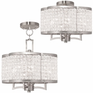 Livex 50574-91 Grammercy Brushed Nickel Mini Chandelier Lamp / Ceiling Light Fixture