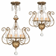 Livex 51915-36 Isabella Hand Applied European Bronze Mini Lighting Chandelier / Ceiling Lighting