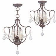 Livex 6434-71 Chesterfield Hand Applied Venetian Golden Bronze Mini Chandelier Lighting / Flush Mount Lighting