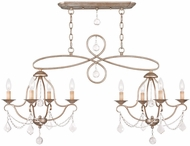 Livex 6437-73 Chesterfield Hand Painted Antique Silver Leaf Island Lighting