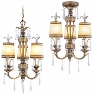 Livex 8803-65 La Bella Hand Painted Vintage Gold Leaf Mini Ceiling Chandelier / Flush Ceiling Light Fixture