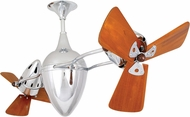 Matthews AR-CR-WD Ar Ruthiane Contemporary Polished Chrome Interior/Exterior 48  Rotational Home Ceiling Fan with Mahogany Blades