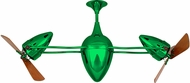 Matthews AR-GREEN-WD Ar Ruthiane Contemporary Green Interior/Exterior 48  Rotational Ceiling Fan with Mahogany Blades