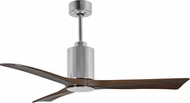 Matthews PA3-CR Patricia Modern Polished Chrome LED Walnut Tone 3 Blade Home Ceiling Fan