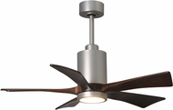 Matthews PA5-BN Patricia Modern Brushed Nickel LED Walnut Tone 5 Blade Home Ceiling Fan