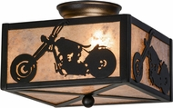 Meyda Tiffany 109547 Motorcycle Black / Silver Mica Overhead Light Fixture