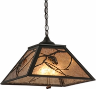 Meyda Tiffany 110859 Whispering Pines Country Timeless Bronze / Silver Mica Pendant Lighting Fixture