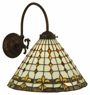 Meyda Tiffany 130617 Fleur-de-Lite Tiffany Oil Rubbed Bronze Finish 12  Wide Sconce Lighting