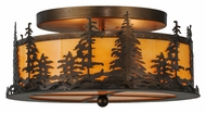 Meyda Tiffany 144243 Tall Pines Rustic Antique Copper Finish 16  Wide Ceiling Light Fixture